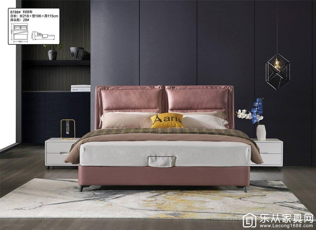 万圆美家居 / 红太阳8788科技布软床卧室家具现代时尚 极简